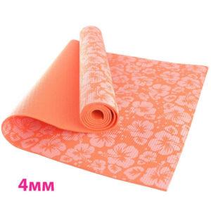 Коврик для йоги 173х61х0,4 см (оранжевый с принтом) (материал: ПВХ)