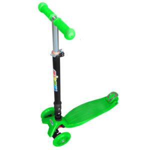 Самокат 3-х колесный со складным рулем и светящимися колесами (зеленый)
