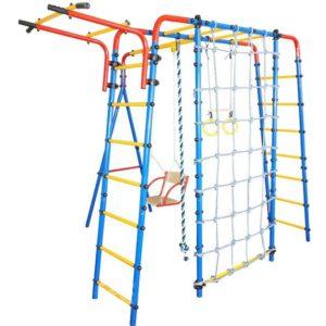 Детский спортивно игровой комплекс «АТЛЕТ» NEW+ сетка для лаза (турник регулируемый)