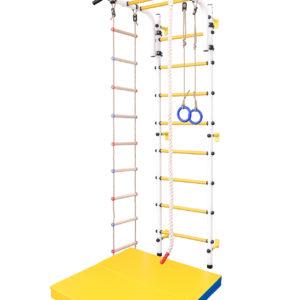 """Детская шведская стенка (Цвет основания: """"белый"""", цвет ступеней: """"желтые"""")"""