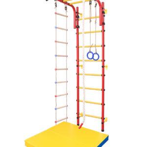 """Детская шведская стенка (Цвет основания: """"красный"""", цвет ступеней: """"желтые"""")"""